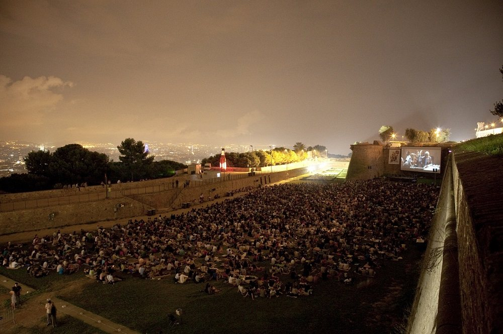 sala montjuic open air cinema in barcelona spain