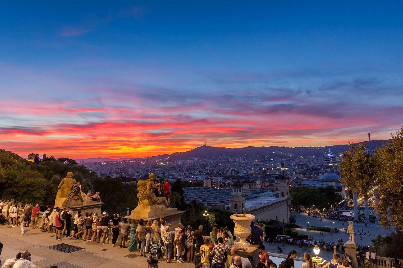 Sunset in Barcelona, seen from Montjuïc hill
