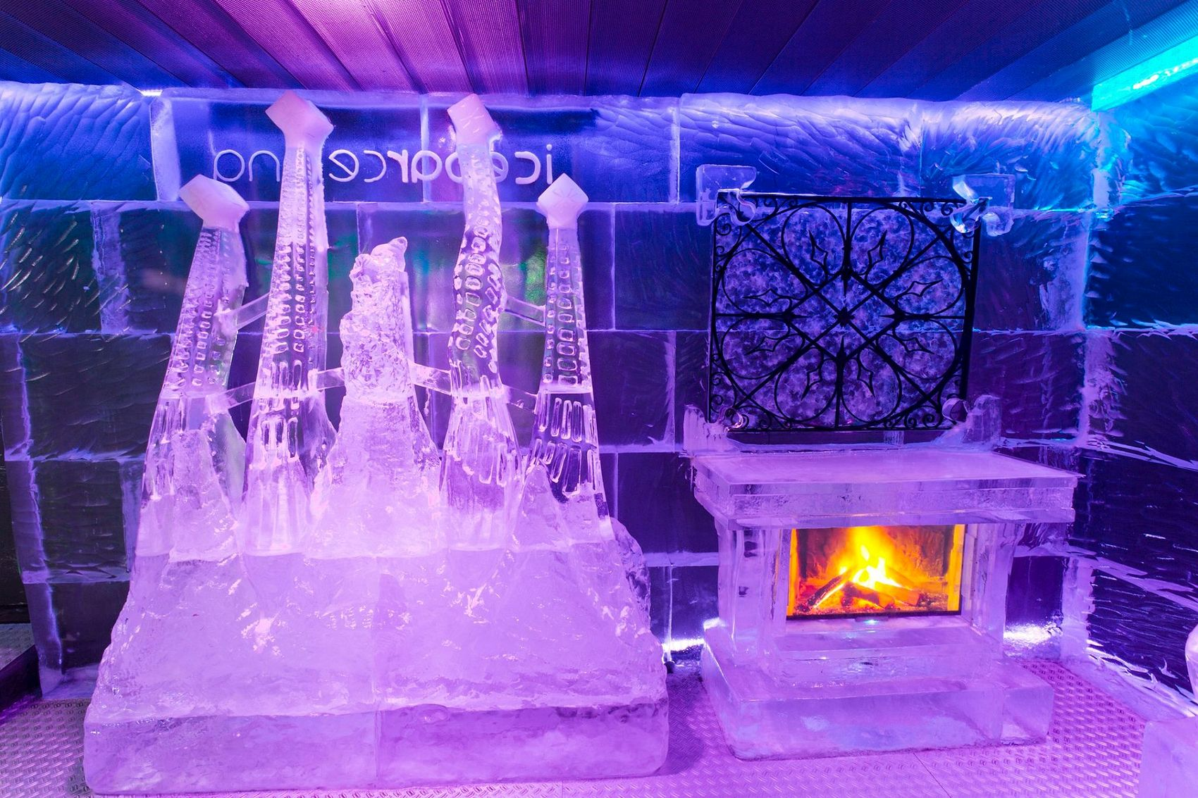 Ice bar with fireplace