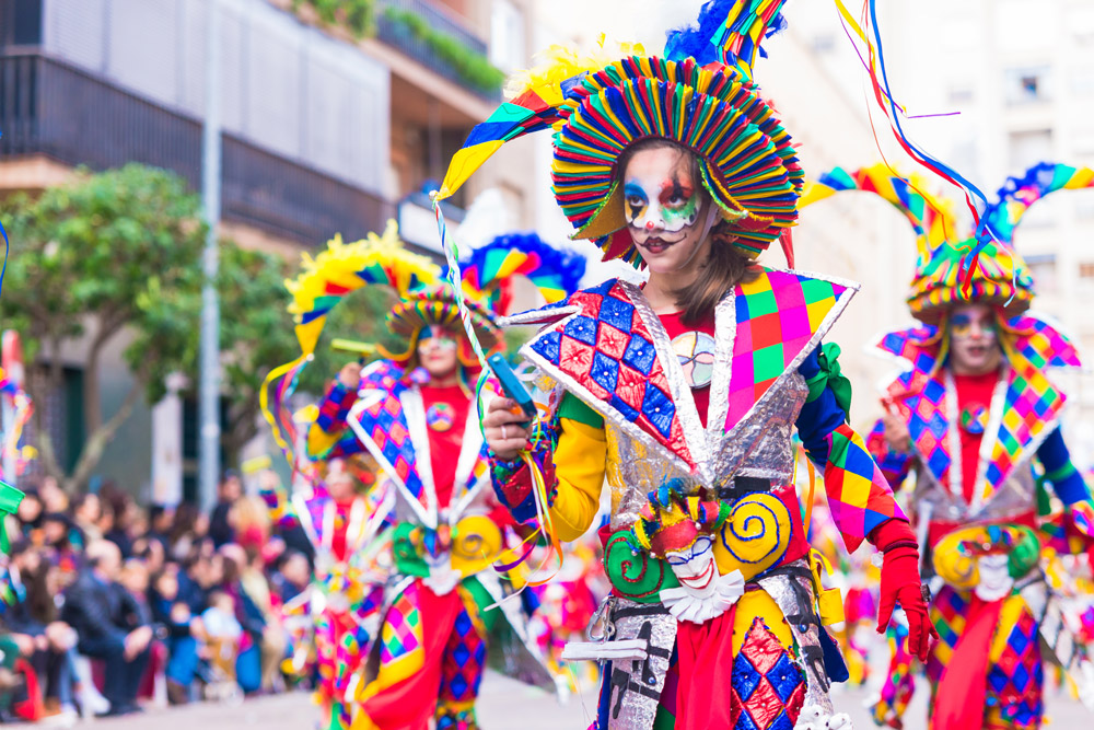 Colorful street parade in Spain