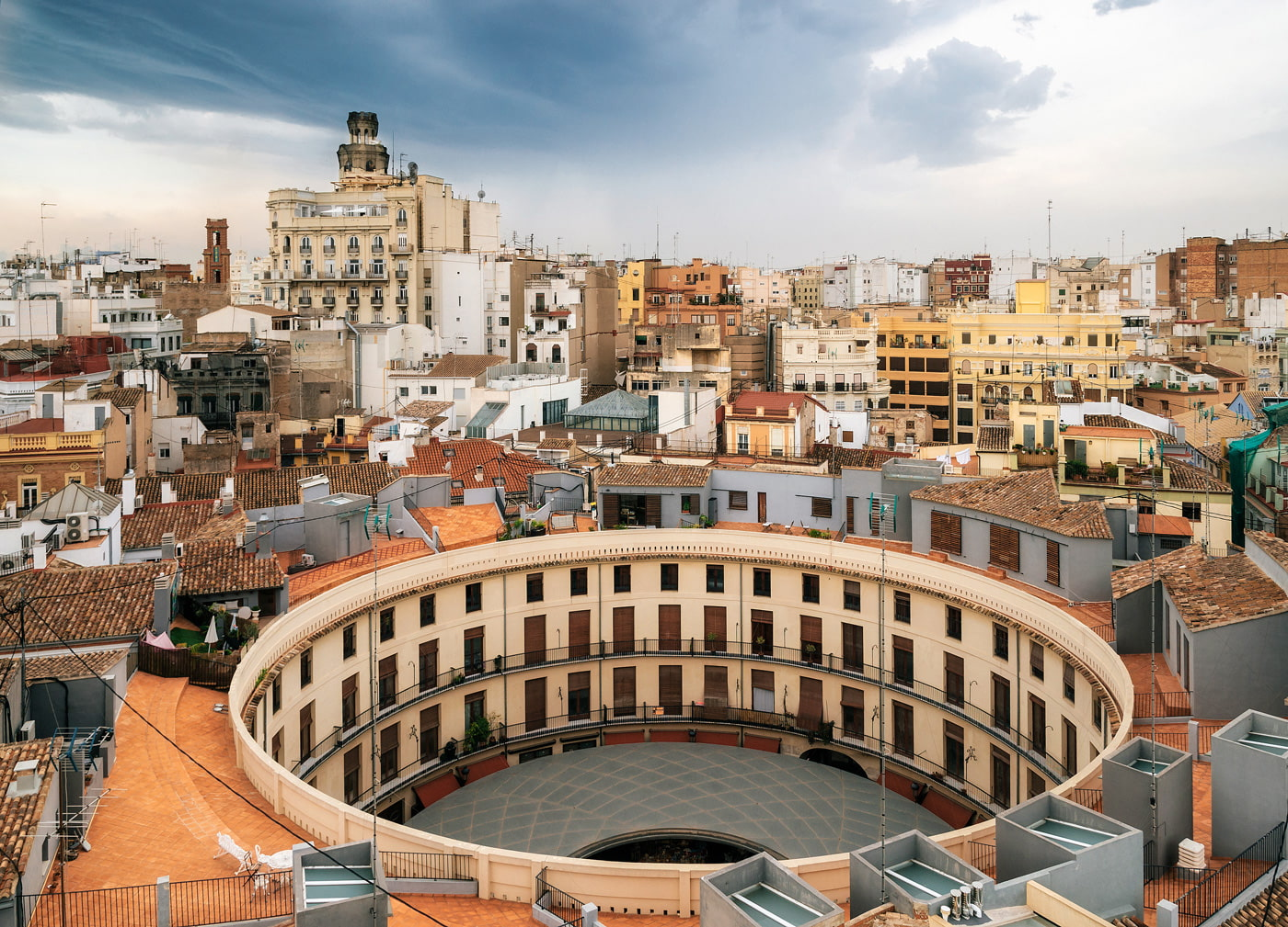 Aerial view of Plaza Redonda in Valencia