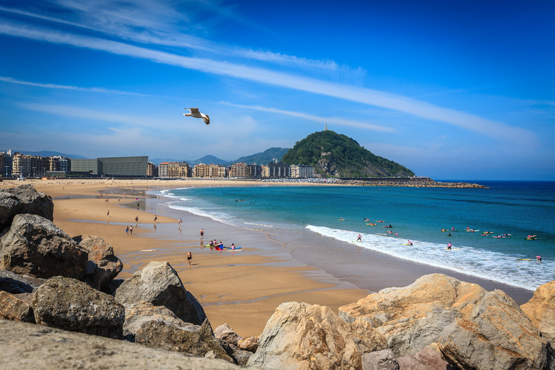 Surfing beach in San Sebastian