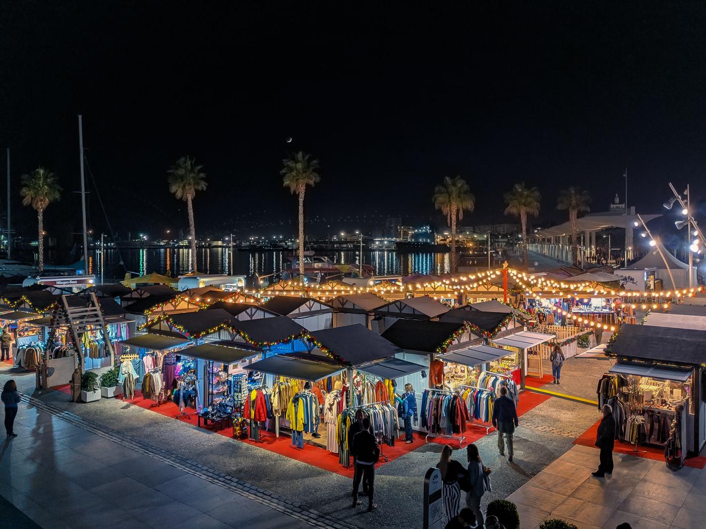 Christmas market in Malaga port